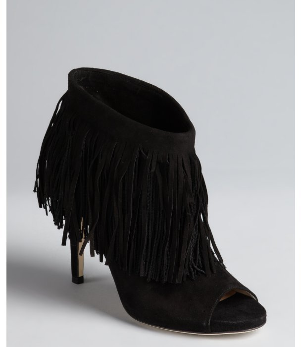 Jimmy Choo black suede fringe 'Daxen' ankle boots