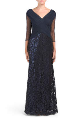 Wrap Top Embellished Gown
