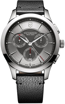 Victorinox Swiss Army Men's Swiss Chronograph Alliance Black Leather Strap Watch 44mm 241748 $495 thestylecure.com