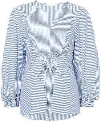 Tibi striped lace-up blouse