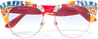 Dolce & Gabbana - Printed Acetate Sunglasses - Red $310 thestylecure.com