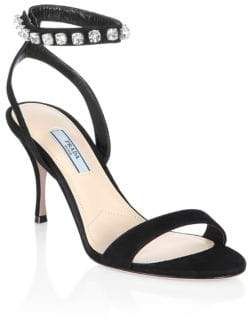 Prada Crystal Ankle Strap Sandals