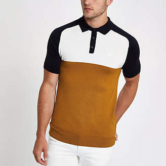 River Island Yellow slim fit color block polo shirt