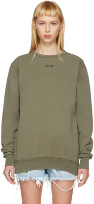 Off-White Green Washed Crewneck Pullover $545 thestylecure.com