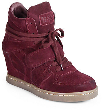 Ash Cool Suede Lace-Up Wedge Sneakers