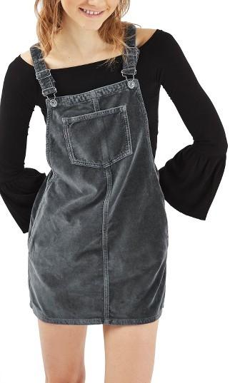 TopshopPetite Women's Topshop Velvet Pinafore Dress