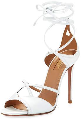 Aquazzura Nathalie 105mm Crisscross Leather Sandal