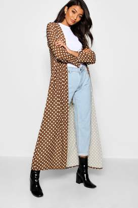 boohoo Satin Polka Dot Maxi Kimono