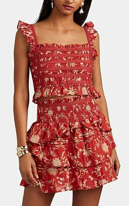 SIR The Label Women's Aurelie Floral Cotton Crop Top - Red