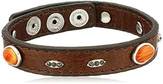 Barse Sterling Silver and Spiny Oyster Shell Leather Bracelet