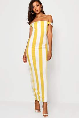 boohoo Tall Tonal Stripe Off The Shoulder Jersey Maxi Dress