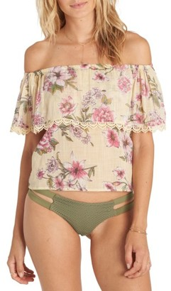 Women's Billabong Spring Fling Floral Print Off The Shoulder Top $44.95 thestylecure.com