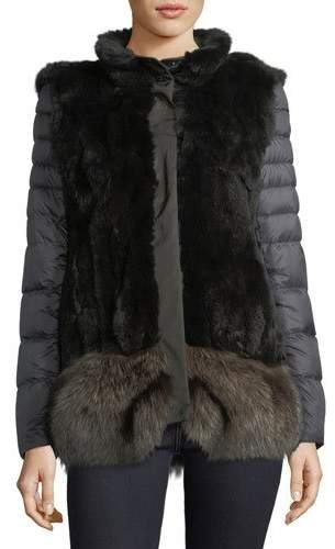 Post Card Ortles Two-Piece Fur Vest & Quilted Puffer Jacket