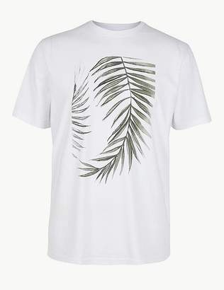 Marks and Spencer Pure Cotton Leaf Print T-Shirt