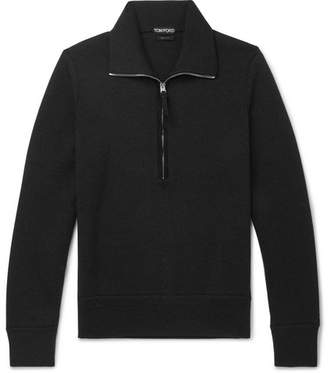 Tom Ford Suede-Trimmed Wool Half-Zip Sweater