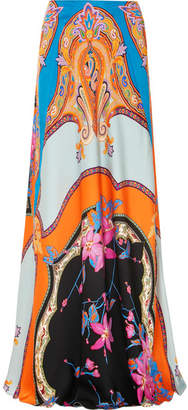 Etro Floral-print Satin Maxi Skirt