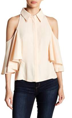 Gracia Collared Cold-Shoulder Blouse