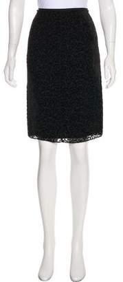 Nina Ricci Flocked Knee-Length Skirt w/ Tags