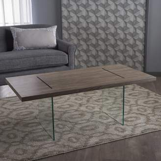 clear Noble House Adelyn Modern Faux Wood Overlay Coffee Table With Andersonred Glass Legs, Dark Sonoma Oak,