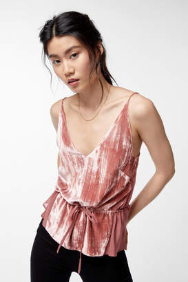 Lucy Peplum Cami In Deep Blush Liquid Velvet