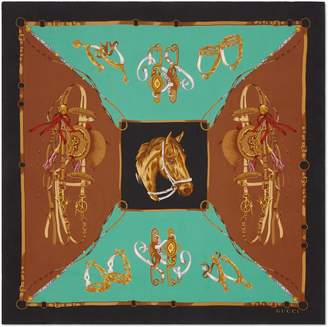 Gucci Silk scarf with equestrian print