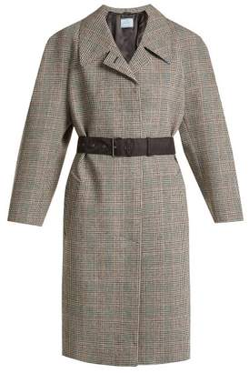 Prada Houndstooth Checked Wool Blend Coat - Womens - Grey