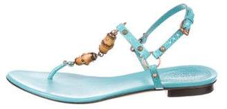 Gucci Bamboo-Accented T-Strap Sandals
