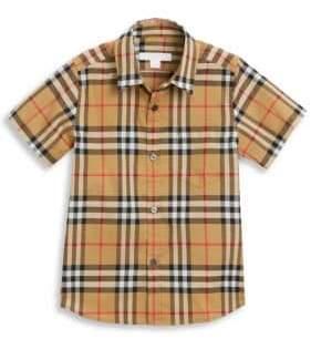 Burberry Little Boy's& Boy's Fred Short Sleeve Button-Up