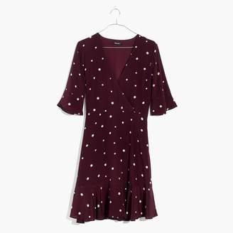 Madewell Silk Flutter-Hem Dress in Star Mix