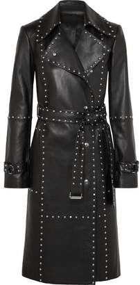 Helmut Lang Studded Leather Trench Coat - Black