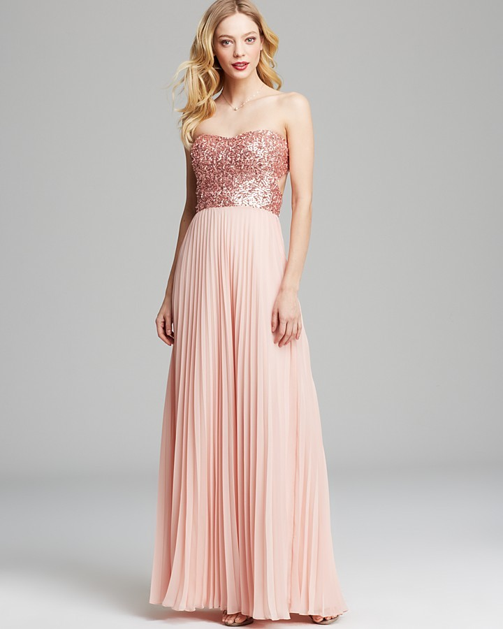Aqua Gown - Sequin Strapless Bodice with Pleated Chiffon Skirt