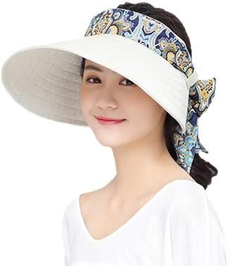 533bcbf6342a7 MioCloth Women Big Brim Visor Cap Sun Hat UV Protection SPF53+ for Golf  Beach Outdoor