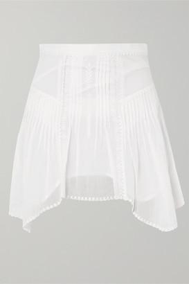 Etoile Isabel Marant Akala Asymmetric Embroidered Cotton-voile Mini Skirt - White