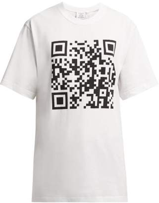 Vetements Qr Code Cotton T Shirt - Womens - White