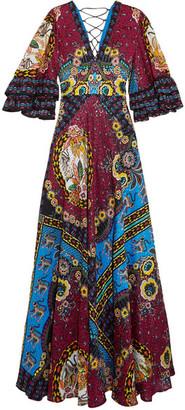 Etro Ruffled Silk-jacquard And Printed Crepe De Chine Maxi Dress - Red