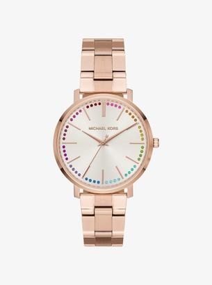 Michael Kors Jaryn Rainbow Pave Rose Gold-Tone Watch