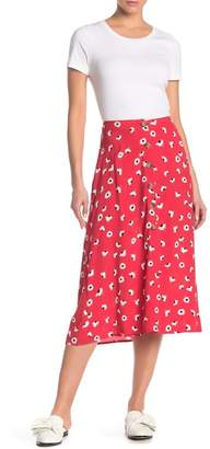 Lush Front Button Floral Print Midi Skirt