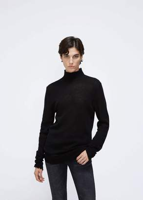 R 13 Distressed Edge Cashmere Turtleneck