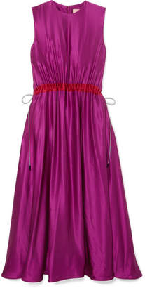 Roksanda Keeva Silk-satin Midi Dress - Magenta