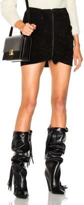 Saint Laurent Ruffle Front Suede Skirt
