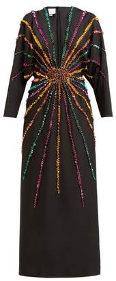 Gucci Sunray Sequinned Silk Crepe Gown - Womens - Black Multi