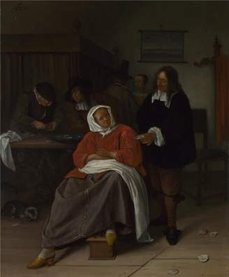 Camilla And Marc Oil Paintings Canvas Prints 'Jan Steen An Interior with a Man offering an Oyster to a Woman ' oil painting, 8 x 10 inch / 20 x 25 cm ,printed on high quality polyster Canvas ,this Imitations Art DecorativeCanvas Prints is perfectly suitalbe for Garage decoration and Home artwork and Gifts