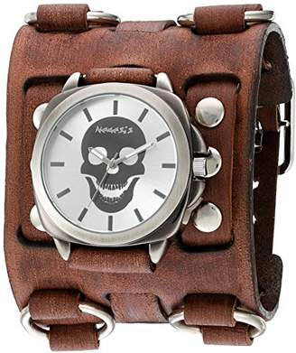 Nemesis 'Skull Head Series' Quartz Stainless Steel and Leather Watch