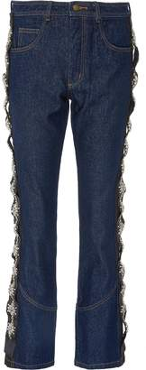 Johanna Ortiz 'Sapphire' embellished outseam raw jeans
