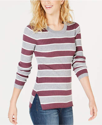 Hippie Rose Juniors' Striped Ribbed Lace-Up Sweater