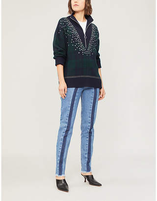 Sandro Patience crystal-embellished checked jumper