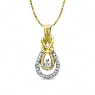 Zales 1/5 CT. T.W. Everlona Diamond Knot Pendant in 10K Gold