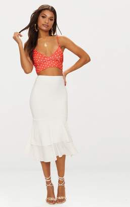 PrettyLittleThing Cream Slinky Frill Hem Midi Skirt