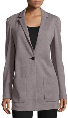 Joan Vass Birdseye Boyfriend Jacket, Plus Size