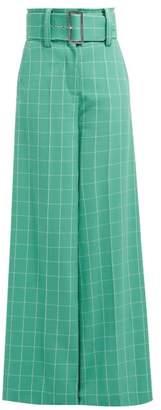 Sara Battaglia High Rise Checked Crepe Trousers - Womens - Green White
